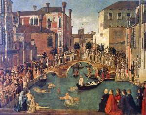 Miracle at the bridge of San Lorenzo, by Bellini (c. 1500)
