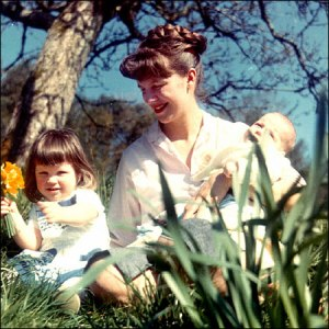 Sylvia Plath and her two children, Nicholas and Frieda