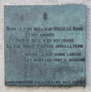 The plaque on the Pont Mirabeau